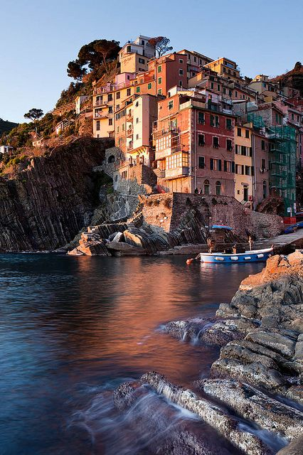 Riomaggiore - one of the towns along Italy's Cinque Terra. Amazing.  Just don't stay with Mama Rosa!