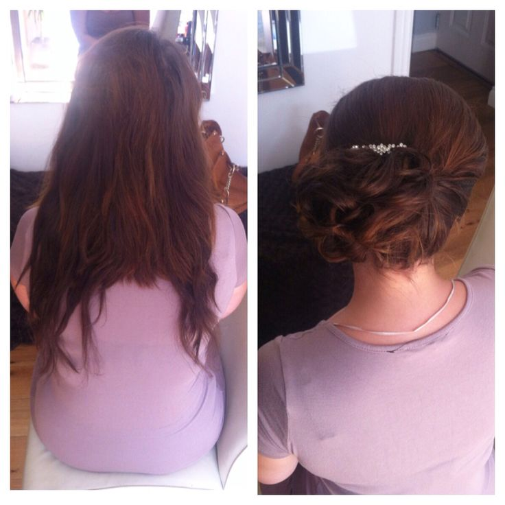Before and after messy bun hairstyle