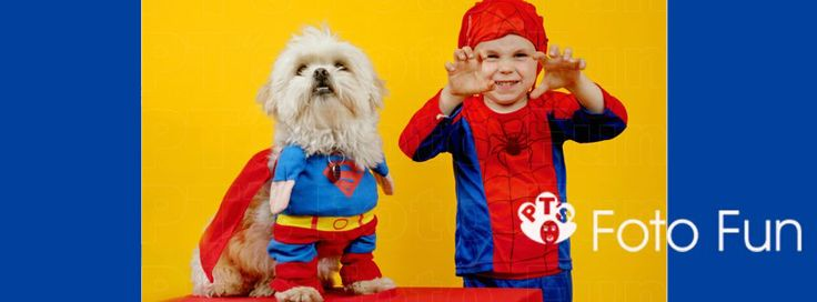 Superhero boy and dog in a funny scene
