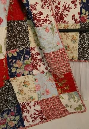 French Country Cottage Red Blue Quilt Throw detail Emilia French ... by coolnana