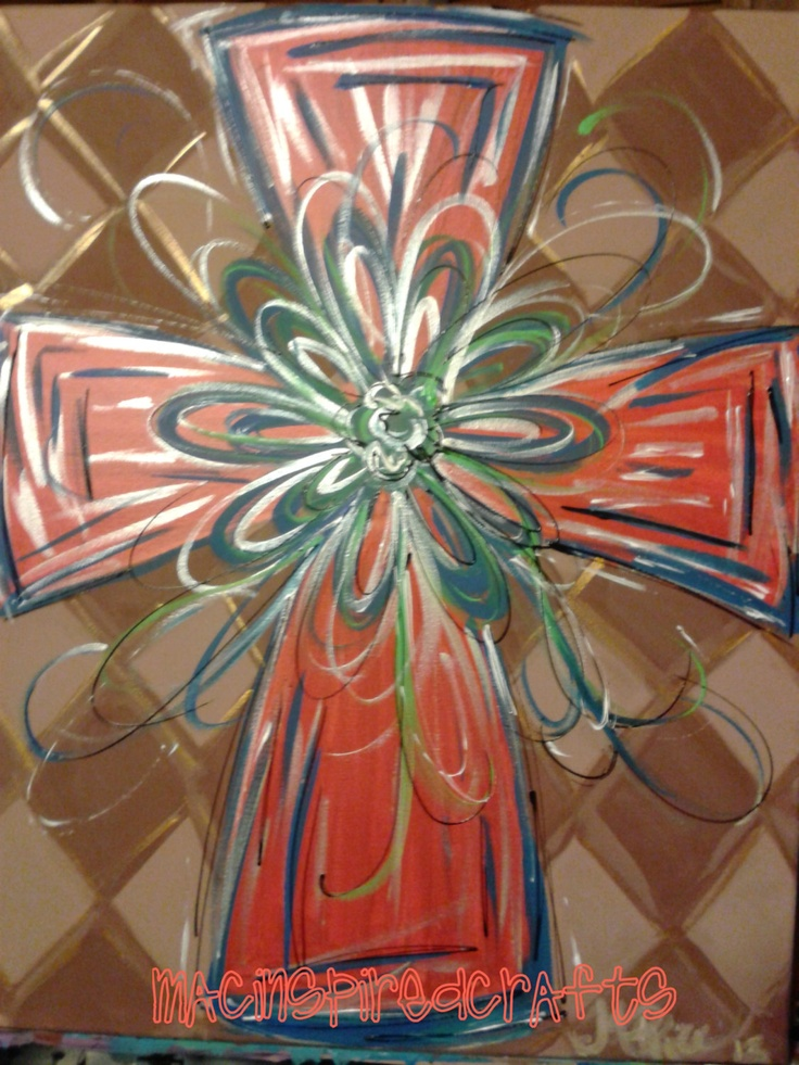Hand+Painted+Cross+Original+Painting+by+MACInspiredCrafts+on+Etsy,+$50.00