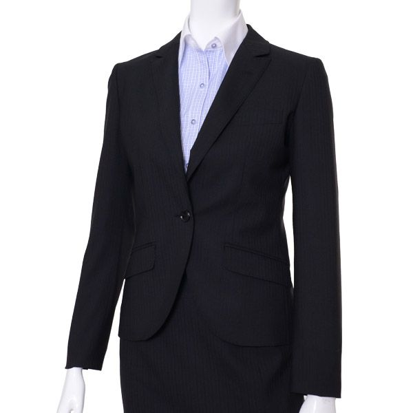 WOMEN ジャケット・ブラック/柄無地:5-0078-26-733:¥13,000(税抜き)|[ザ・スーパースーツストア]のオンリー|レディース/メンズスーツ オーダースーツ