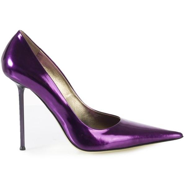 Gia Lorenzi Purple Leather Court Shoes ($510) ❤ liked on Polyvore