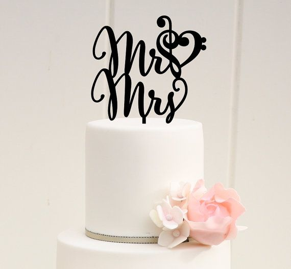 Mr and Mrs Wedding Cake Topper with Music by ThePinkOwlDesigns