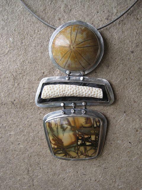 Daybreak at Sea bye-bu-jewelry.   // Sterling Silver, Picasso jasper, fossil sand dollar  carved bone coral  polymer via flickr  www.e-bu-jewelry.com