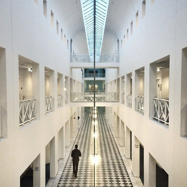 The bright hallways of Copenhagen Business School.