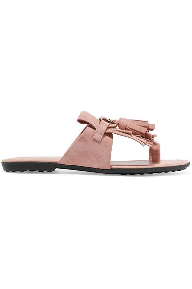 Tod's - Embellished Fringed Suede Sandals - Blush - IT36.5