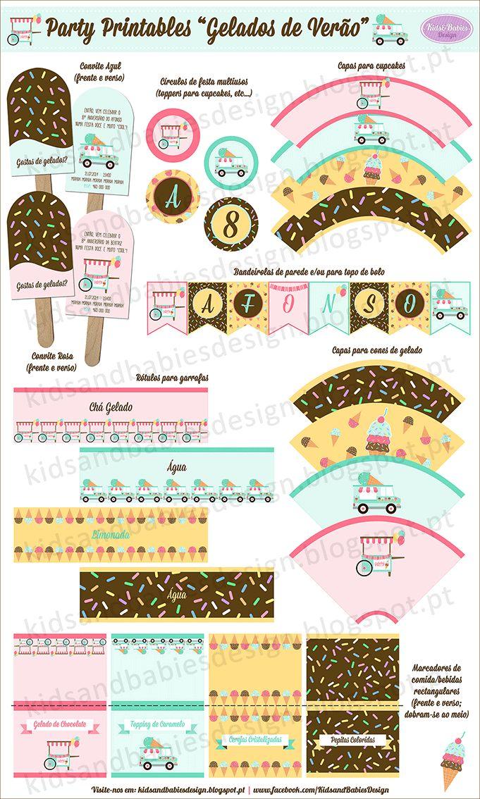 Party Printables :: Gelados de Verão by Kids&Babies Design