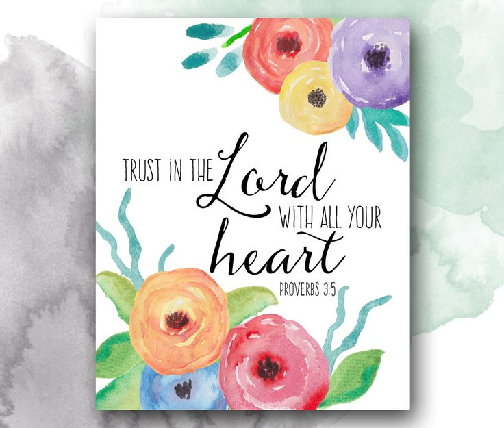 Trust in the Lord with all your heart, Proverbs 3:5, Bible Verse Print – PrettyPlusPaper