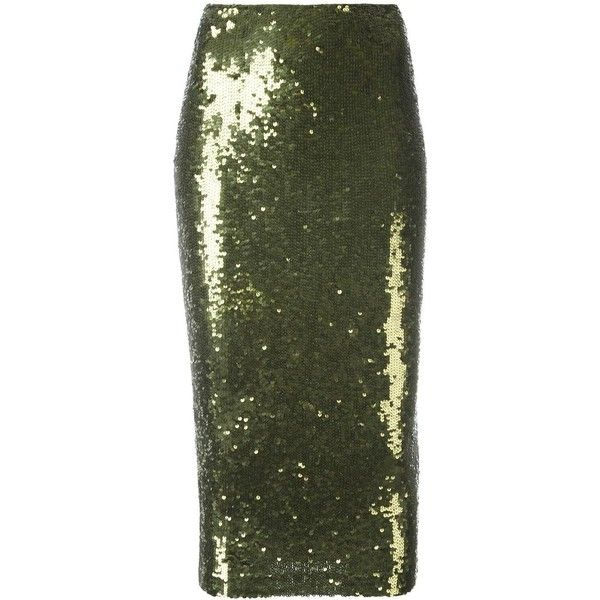 P.A.R.O.S.H. 'Gausha' skirt (49.190 RUB) ❤ liked on Polyvore featuring skirts, green, sequin skirt, green skirt and green sequin skirt
