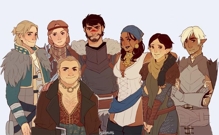 Dragon Age 2 - From left to right: Anders, Aveline, Varric, Hawke, Isabela, Merrill, Fenris