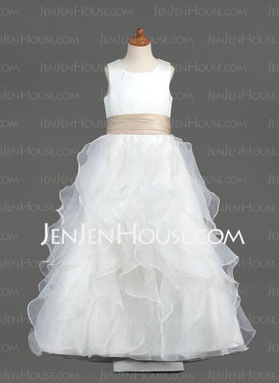 Flower Girl Dresses - $97.49 - A-Line/Princess Scoop Neck Floor-Length Organza Satin Flower Girl Dresses With Sash (010005799) http://jenjenhouse.com/A-Line-Princess-Scoop-Neck-Floor-Length-Organza-Satin-Flower-Girl-Dresses-With-Sash-010005799-g5799