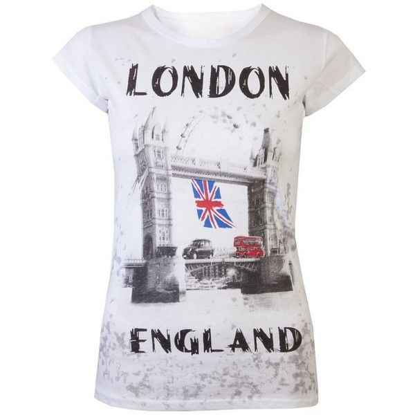 Womens Tops T Shirts Union Jack Flag Bus London Tops Super Quality Tee... ($16) ❤ liked on Polyvore featuring tops, t-shirts, white tops, british flag t shirt, union jack t shirt, british flag tee and white tee
