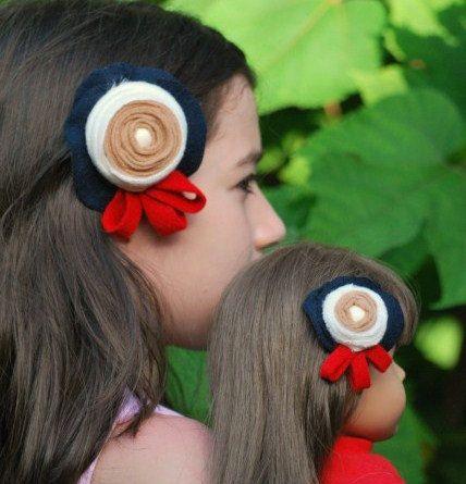 My American Girl Doll & Me Sailor Set 2 Hair Clips by sofisticata, custom made colors. http://sofisticata.etsy.com