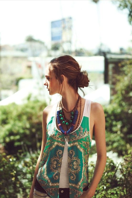 Restyle Inspiration   Silk scarf combined with T-shirt...