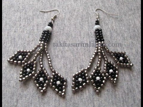 Diamond dangle earrings ~ Seed Bead Tutorials