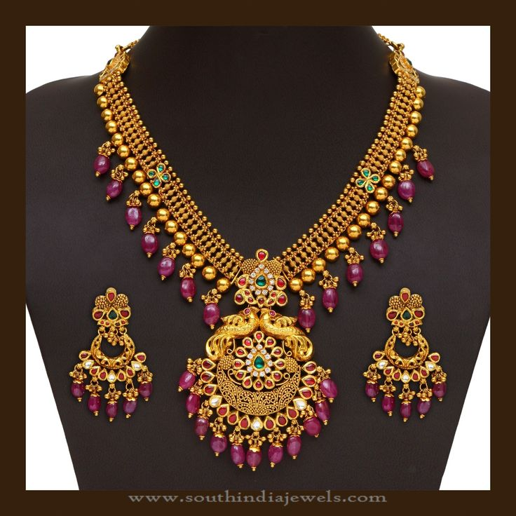 Gold Antique Necklace with Matching Chandbali Earrings, Gold Necklace with Chandbali Designs.