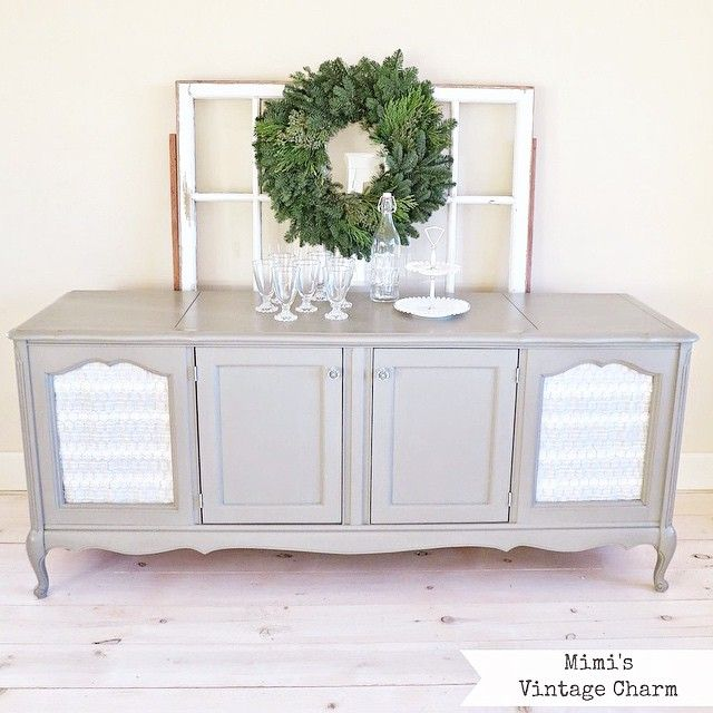 "A vintage stereo cabinet makeover. ""French Linen"" ASCP was my color of choice. White ruffled curtains and that ever trendy chicken wire was the perfect finishing touch. Before & After photos on the blog. Link in profile. #mimisvintagecharm #luckystarmarket #vintage"