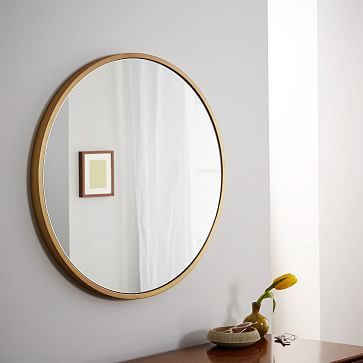 "Metal Framed Round Wall Mirror - Antique Brass #westelm 30"" $229"