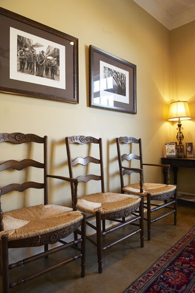 Waiting area -chairs by French Market Collection.      Lane Eddleman, DDS and Mike Nolan, DDS