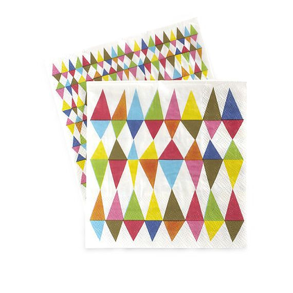 """CARNIVAL CHAOS PAPER NAPKINS - These 3-ply premium quality paper napkins are designed with coordinating patterns on both sides. Perfect for any bright colored and festive celebration! Boutique style partyware by Paper Eskimo. Each pack includes 20 reversible paper napkins. Premium 3-ply napkins. Napkin dimensions are approx. 4.7"""" x 4.7"""" (folded)."""