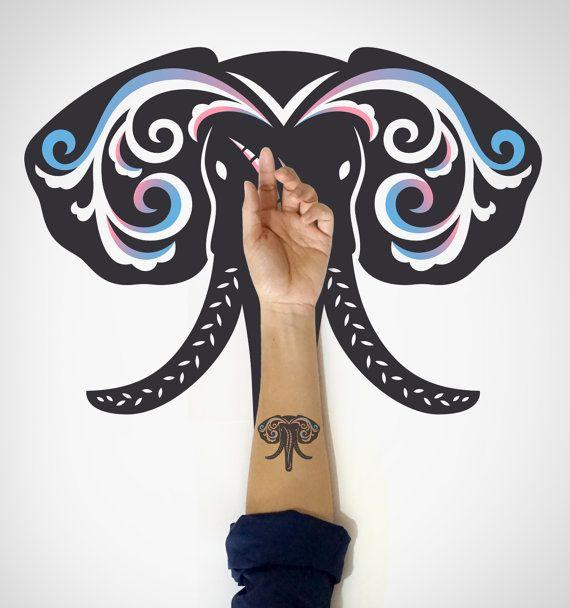Elephant Temporary Art Tattoo / Elephant Head by EasternCloud