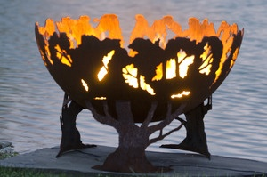 Forest Fire Custom Steel Outdoor Fire Pit Tree Themed Artistic Fire Bowl