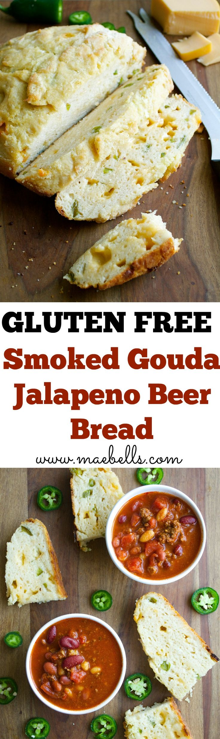 This Smoked Gouda and Jalapeño Beer bread is the best gluten free bread yet! Full of spicy jalapeño and smokey gouda, you will wonder how you ever lived without it!