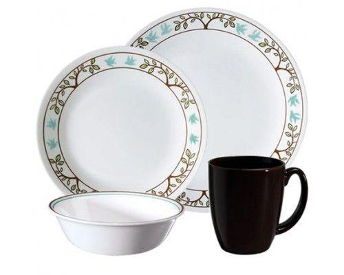 Corelle Tree Bird 16pc Dinner Set - 4 dinner plates-26cm 4 bread & butter plates-17cm 4 cereal bowls-18oz and 4 stoneware mugs. #Corelle #LivingWare #PopatStores