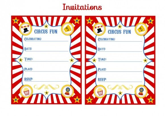 free circus birthday party printable invitation