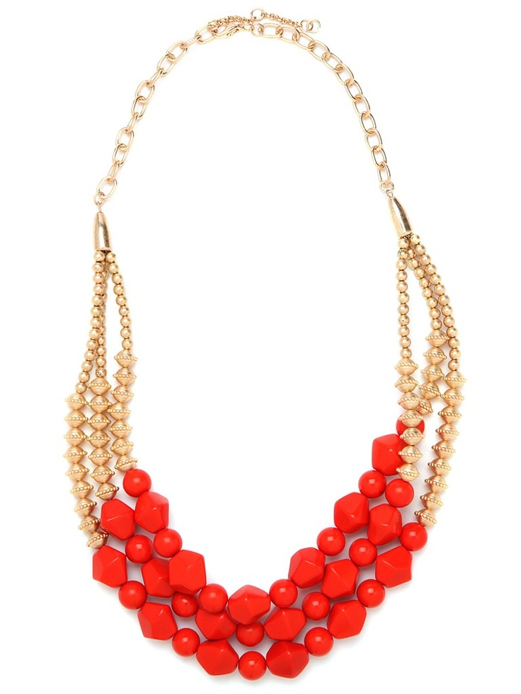 red - gold necklace: Baubles Bar, Red Geo, Statement Necklaces, Jewelry Necklaces, Red Necklaces, Gold Necklaces, Accessories, Geo Strands, Red Gold