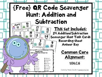 {FREE} QR Codes Addition and Subtraction Scavenger Hunt:  students practice addition and subtraction facts to find the sums and differences.  QR Code Addition and Subtraction Math Center.