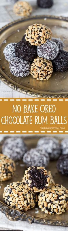 These Oreo Chocolate Rum Balls stuffed with walnuts will be the easiest thing you have ever made. They require no oven time at all, and are perfect for serving the guests! | http://yummyaddiction.com
