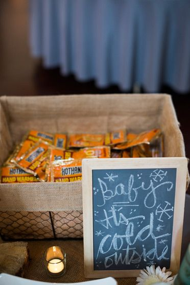 Brinton Studios, winter wonderland wedding, vail, donovan pavillion, baby it's cold outside, chalk board sign, basket of hand warmers