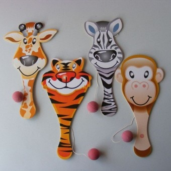 Sometimes called paddle ball, a great skill game which is very addictive and good fun. Continuously beat the ball which is attached to an elastic cord.  Ply wood Zoo animal bif bat with assorted  monkey, tiger, giraffe or zebra design prints. Another great party bag filler. Bat length 22cm.