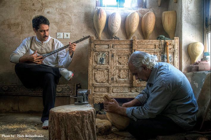 The Kurdish Tambûr Craftsmen and Players Asadollah Gahvareh and Farhad Farmani from Kirmaşan, Iran. The Tambûr Instrument was already present in the 3rd century at the court of the Sasanids in Iran. Among the Kurds, especially the Yazidis and their Yarsani Cousins, this Instrument is considered sacred, especially because it is an important ‎component of their religious Rituals.
