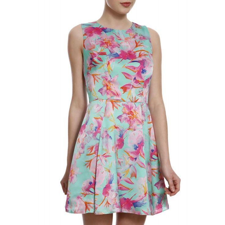 Vestido Curto Toque de Seda Floral