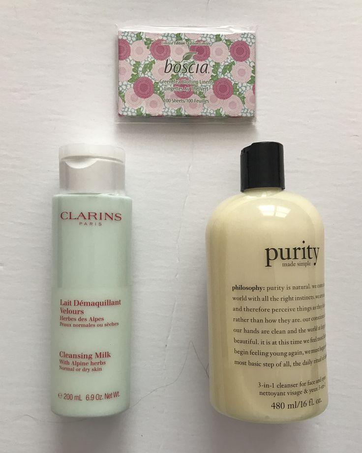 Boscia Green Tea Blotting Liners $7    Clarins Cleansing Milk with Alpine Herbs $20    Philosophy Purity Cleanser 16oz $30