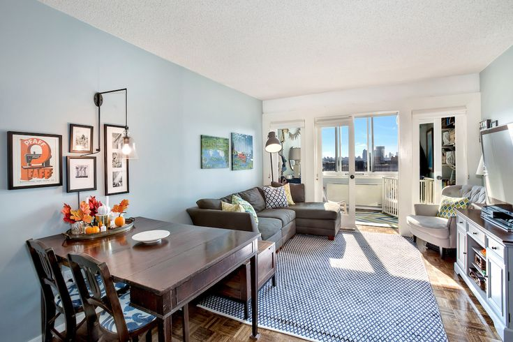New York City Apartment. Nursery Wall Divider. Blue and White Apartment.