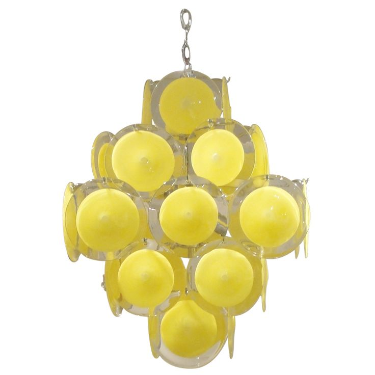 This should be in my dining room.Yellow Vistosi Murano Glass Chandelier @1stdibs