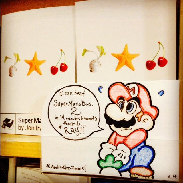 "Just made my first ""Shelf Talker"" for #greenapplebooks Of course, it's on a new release all about  #supermariobros2 for the #NES courtesy of #bossfightbooks"