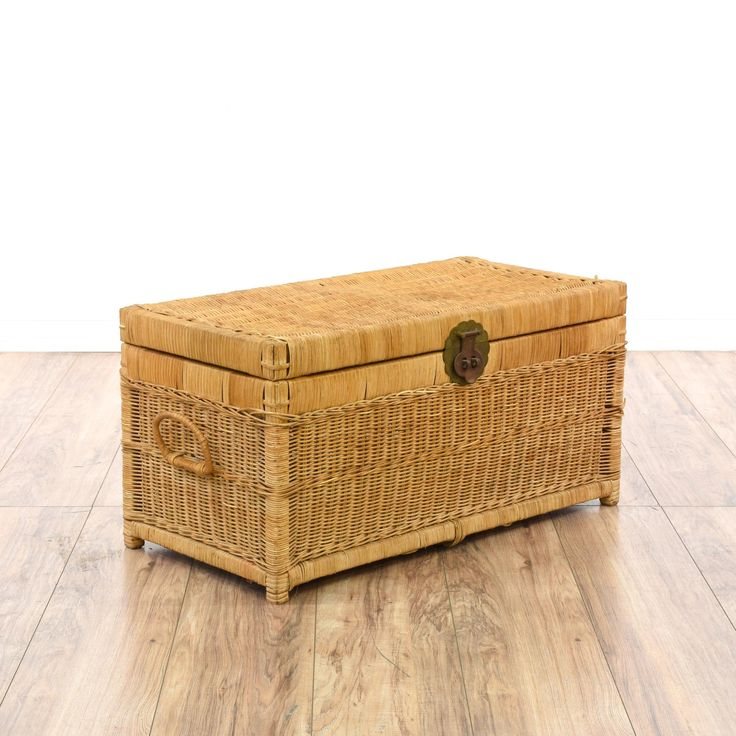 This tropical trunk is featured in a woven wicker with a light wood finish. This beach chic storage chest has brass hardware, side handles and a large interior cabinet. Perfect for storing linens at the end of a bed! #coastal #storage #chestortrunk #sandiegovintage #vintagefurniture