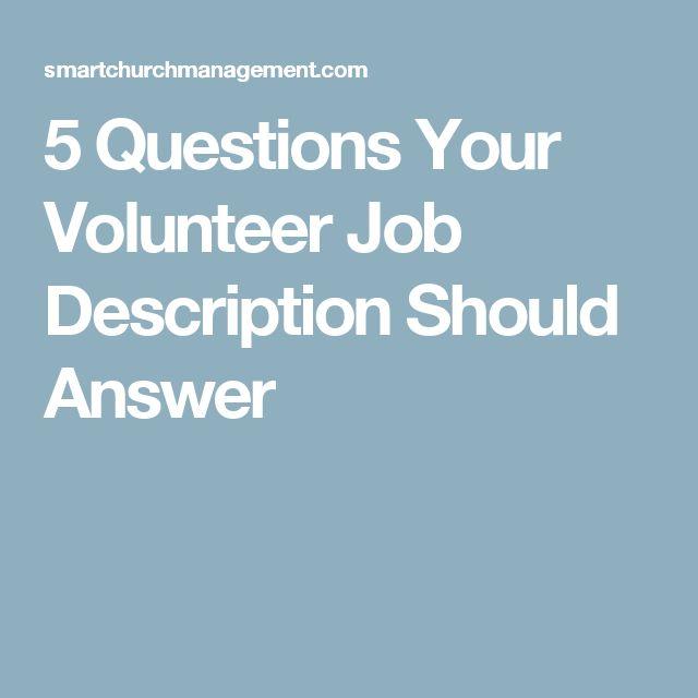 Best 25 Volunteer Jobs ideas – Hospital Volunteer Job Description