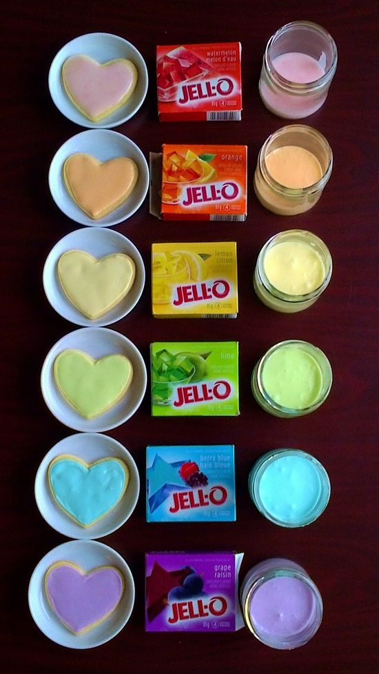 By just stirring some jello into your frosting...it will change the color and flavor. Awesome idea!.