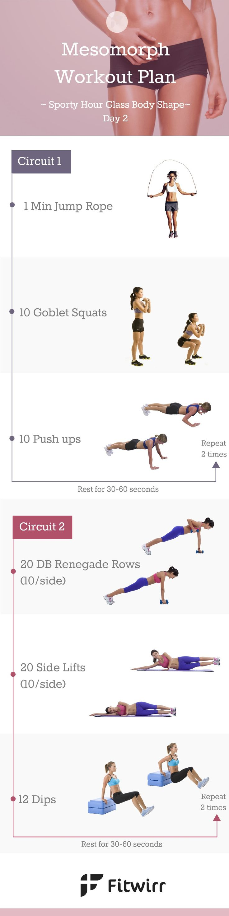 Mesomorph Workout Routine - Day 2: Sure, there are general workout rules that apply to all body types and certain exercises perform better than others no matter who performs them, but to have a successful workout that leads to weight loss, fat loss and muscle toning results, workouts that address both your problem areas and cater to your body type are crucial and create a night and day difference.
