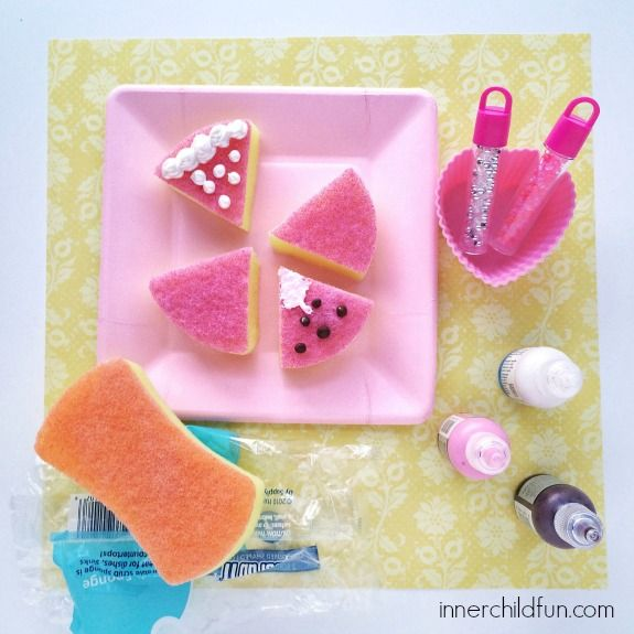 Doll food from Dollar store sponge