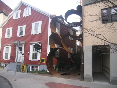 art installation next to Cafe Pamplona, Harvard Square
