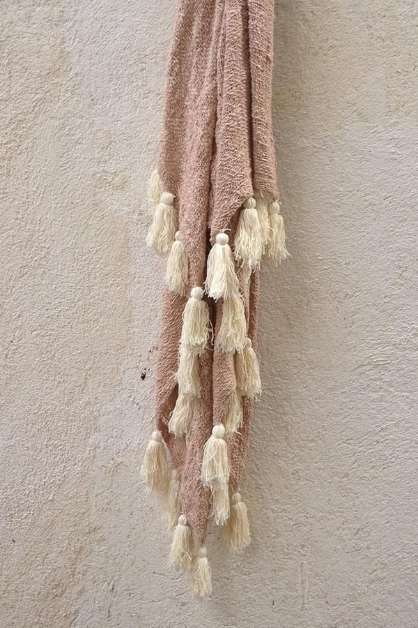 Willow Weave Blush Throw With Natural Tassels Buy Online Now!