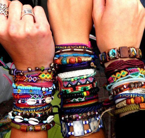 layered jewelry stacking friendship bracelets.