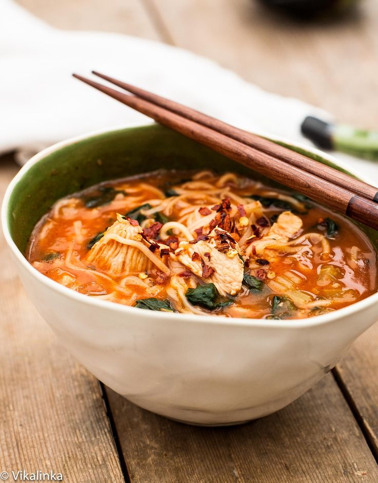 Wondering what to do with your turkey leftovers? Thai Noodle Bowl- warm and comforting chicken noodle soup with a Thai twist. #chickennoodle